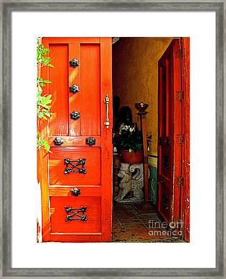 Chinese Red Shop Door Framed Print by Mexicolors Art Photography