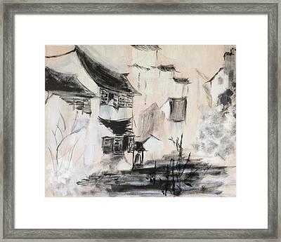 Chinese Rural Vilage Framed Print by J j Jin