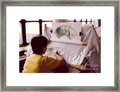 Chinese Silk Framed Print by Andrea Simon