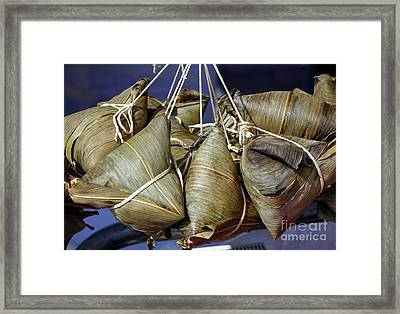Chinese Sticky Rice Dumplings Framed Print by Yali Shi