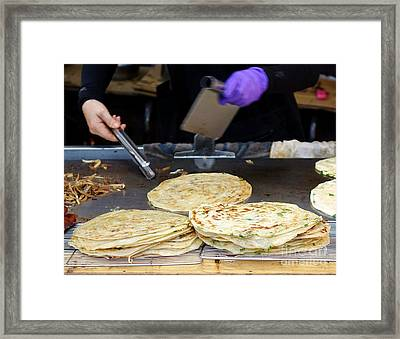 Framed Print featuring the photograph Chinese Street Vendor Cooks Onion Pancakes by Yali Shi