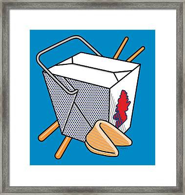 Chinese Takeout On Blue Framed Print by Ron Magnes