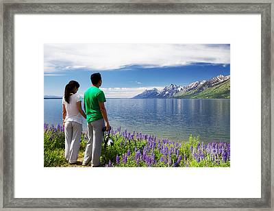 Chinese Tourists, Grand Tetons Framed Print by Daryl L Hunter