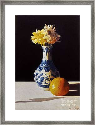 Chinese Vase And Orange Framed Print by Daniel Montoya