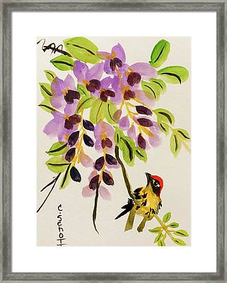 Chinese Wisteria With Warbler Bird Framed Print