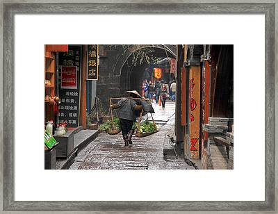 Chinese Woman Carrying Vegetables Framed Print