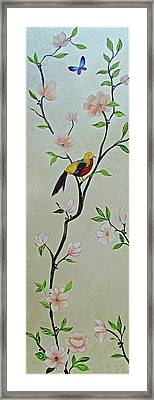 Chinoiserie - Magnolias And Birds #1 Framed Print