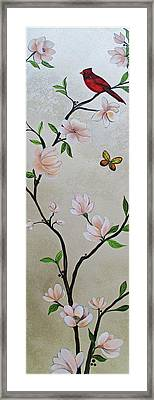 Chinoiserie - Magnolias And Birds #3 Framed Print