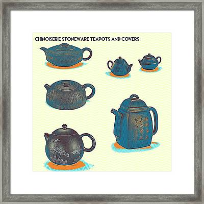 Chinoiserie Stoneware Teapots And Covers 2 Framed Print