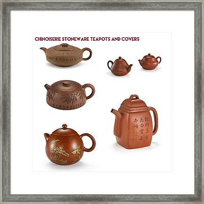 Chinoiserie Stoneware Teapots And Covers Framed Print