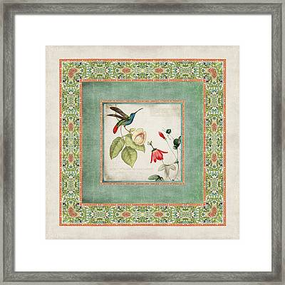 Chinoiserie Vintage Hummingbirds N Flowers 2 Framed Print by Audrey Jeanne Roberts