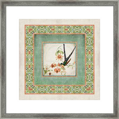 Chinoiserie Vintage Hummingbirds N Flowers 3 Framed Print by Audrey Jeanne Roberts