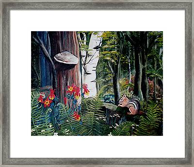 Chipmunk On A Log Framed Print