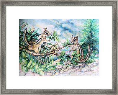 Framed Print featuring the drawing Chipmunks by Linda Shackelford