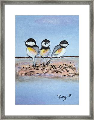 Chirpy Chickadees Framed Print by Roxy Rich