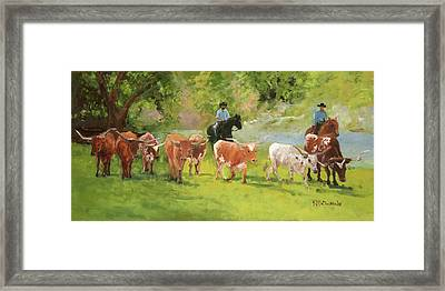 Chisholm Trail Texas Longhorn Cattle Drive Oil Painting By Kmcelwaine Framed Print