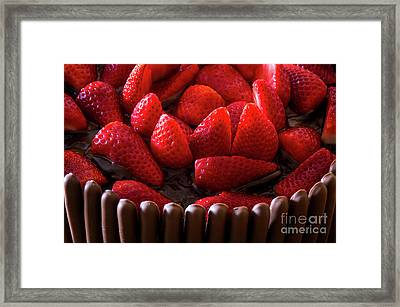 Chocolate And Strawberry Cake Framed Print