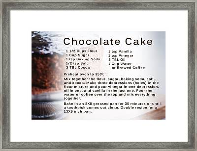 Chocolate Cake Recipe Framed Print