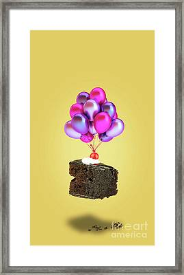 Chocolate Cherry Cake With Balloons Framed Print by Kira Yan