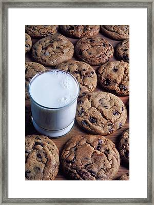 Chocolate Chip Cookies And Glass Of Milk Framed Print