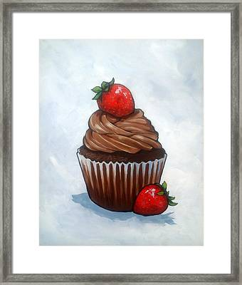 Chocolate Cupcake With Strawberries Framed Print