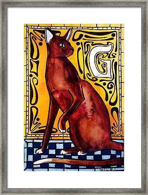 Chocolate Delight - Havana Brown Cat - Cat Art By Dora Hathazi Mendes Framed Print
