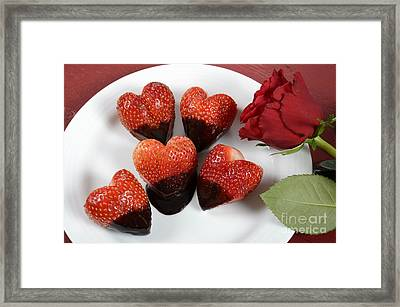 Chocolate Dipped Heart Shaped Strawberries Framed Print by Milleflore Images