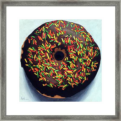 Chocolate Donut And Sprinkles Large Painting Framed Print by Linda Apple