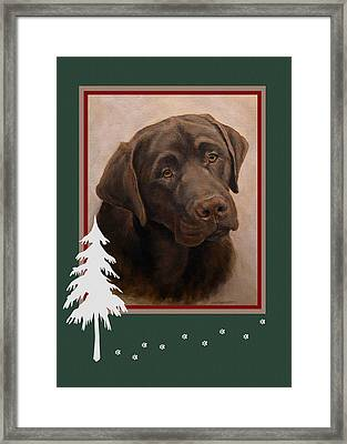 Chocolate Labrador Portrait Christmas Framed Print