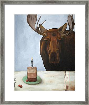 Chocolate Moose Framed Print by Leah Saulnier The Painting Maniac