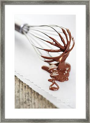 Chocolate Sauce On Whisk Framed Print by Neil Overy