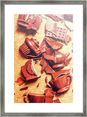 Chocolate Tableware Destruction Framed Print by Jorgo Photography - Wall Art Gallery