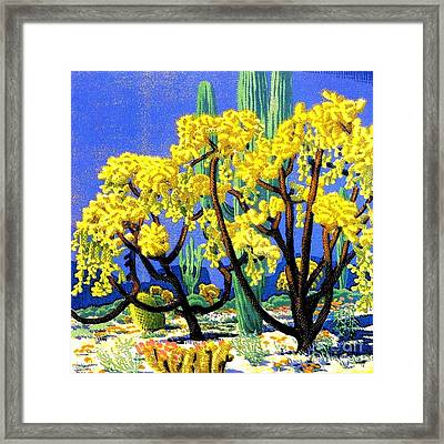 Cholla And Sahuaro Cactus Framed Print by Pg Reproductions