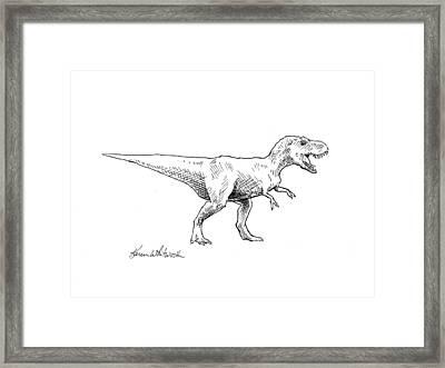 Tyrannosaurus Rex Dinosaur T-rex Ink Drawing Illustration Framed Print