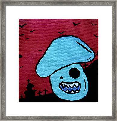 Chomping Zombie Mushroom Framed Print by Jera Sky
