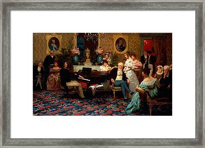 Chopin Playing The Piano In Prince Radziwills Salon Framed Print