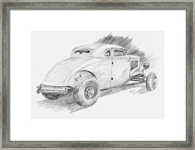 Chopped Coupe Sketch Framed Print by David King
