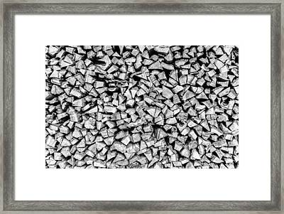 Chopped Fire Wood In A Stack Framed Print