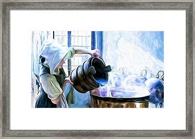 Chores Of A Chambermaid Framed Print by Tony Meaney