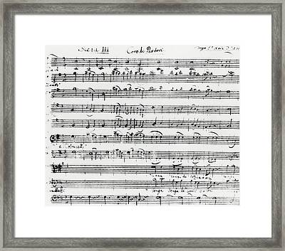 Chorus Of Shepherds, Handwritten Score Of The Opera Ascanio In Alba Framed Print