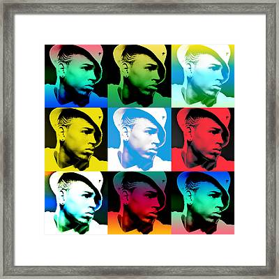 Chris Brown Warhol By Gbs Framed Print by Anibal Diaz