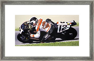Chris Carr Harley-davidson Vr1000 Superbike Framed Print by Jeff Taylor