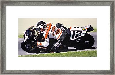 Chris Carr Harley-davidson Vr1000 Superbike Framed Print by Jeff Taylor