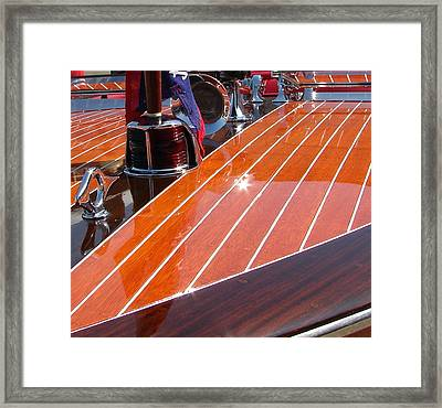 Chris Craft Bow Framed Print by Michelle Calkins