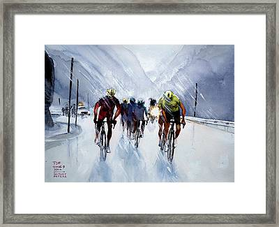 Chris Froome And Others In Rain And Ice Framed Print by Shirley Peters