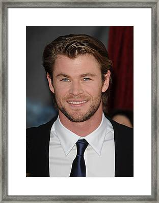 Chris Hemsworth At Arrivals For Thor Framed Print by Everett
