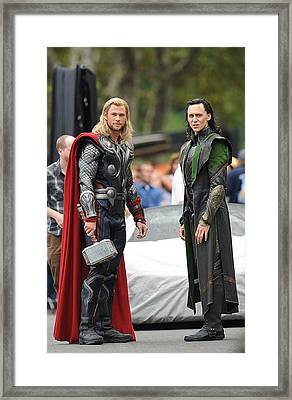 Chris Hemsworth, Tom Hiddleston Framed Print