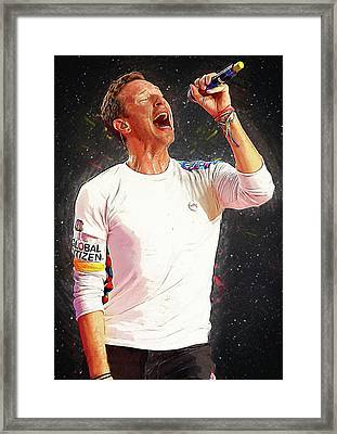 Chris Martin - Coldplay Framed Print by Semih Yurdabak
