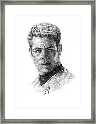 Chris Pine As Captain Kirk Framed Print