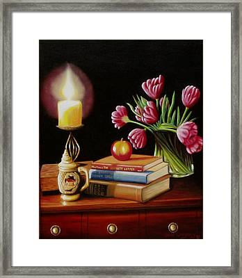 Framed Print featuring the painting Chrisie's Table by Gene Gregory